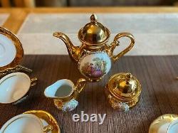 Antique German Porcelain Tea Coffee Set Gilt Gold 17 Piece
