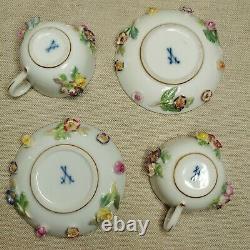 Antique German porcelain miniature tea set Meissen, 19th-20th century