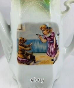 Antique Germany Victorian Porcelain Children's Toy Tea Set Girls & Teddy Bears