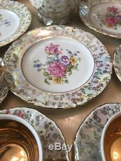 Antique Gorgeous German Dresden Porcelain Tea Set With Gold Trim Very Nice