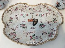 Antique Hand Painted Gilt Samson Paris French Porcelain Tea Set w Armorial Crest