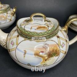 Antique Hand Painted Moriage Imperial Nippon Porcelain 16pc Tea Set 1890s