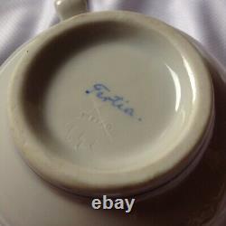 Antique Herend Coffee Tea Set Handpainted Purple Porcelain Saucer Lidded Sugar