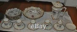 Antique IPF Purple Flower Porcelain TEA & SERVING SET Germany ONLY 4 TEA CUPS