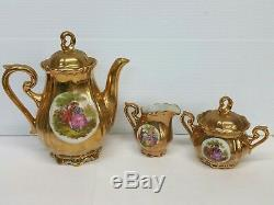 Antique JKW Karlsbad Germany Porcelain Tea Coffee Set Gilt Gold 17 Piece