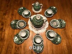 Antique Japanese Eggshell Porcelain Tea & Snack Set Cups Plates Teapot Creamer