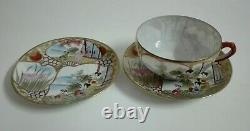 Antique Japanese Kutani Egg Shell Porcelain Tea Set