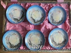 Antique Japanese Porcelain Dragonware Moriage Tea Set in Original Box Sky Blue