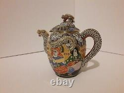 Antique Japanese Satsuma Porcelain Tea Set Dragon Ware