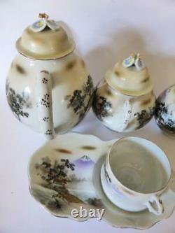 Antique Kutani Eggshell Porcelain Tea Set, Nippon Japan, 9 Pieces, 1930's