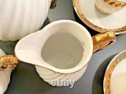 Antique MC Royal Crown Japan 17 Pc White Gold Ribbed Porcelain Coffee Tea Set