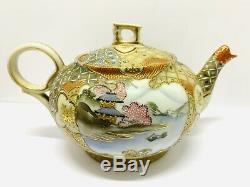 Antique Meiji Satsuma Hiragana Sign Moriage Eggshell Porcelain Tea Set 15 Pcs