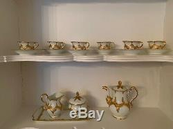 Antique Meissen Porcelain Coffee/Tea Set White with Gold Leaf Accents, Ca 1880