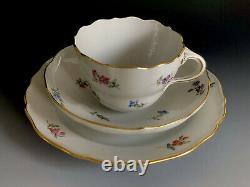 Antique Meissen Porcelain Scattered Flowers Tea Set Trio Germany