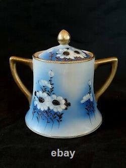 Antique Nippon hand painted blue eggshell porcelain Dasies tea set Japan