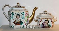 Antique Old Paris Porcelain Tea Set Hand Painted Portraits 10 Services 19th C