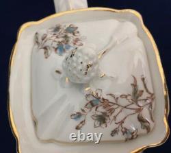 Antique Porcelain Tea Coffee Dessert Set Blue Pansy Floral Shabby Chic Serves 10