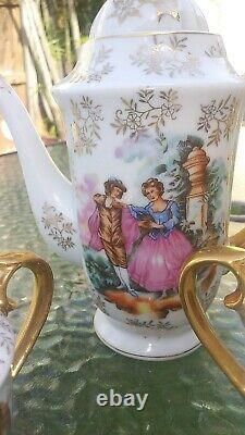 Antique Porcelain Tea Demitasse Set for 6. Hand Painted. Gold Trim. 17Pcs EXC