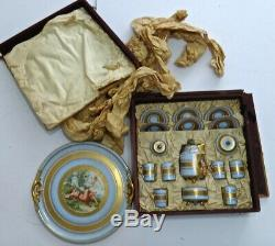 Antique Royal Vienna Style Porcelain Tea Coffee Set withTray Beehive/Shield Mark