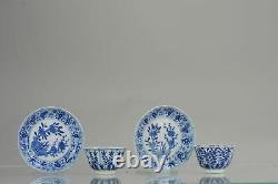 Antique Set 19C Chinese Porcelain Tea Bowl cup Kangxi revival Dish Marked