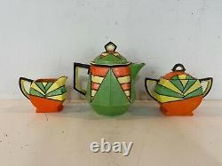 Antique Seyei Toki Art Deco Hand Painted Multicolor Porcelain Teaset