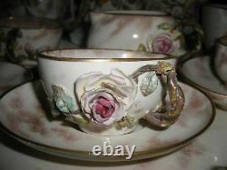 Antique Staffordshire Extremly RARE Barbotine Roses Porcelain Coffee Tea Set