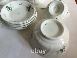 Antique Tea Set c1840 Staffordshire Porcelain Sprig Sprigware Tea Set