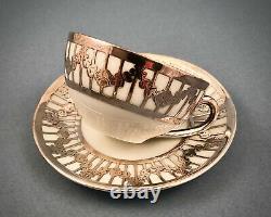 Antique Tirschenreuth Tea Set for One, Silver Overlay
