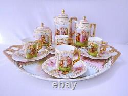 Antique Vienna Dresden Pink & Gold Cabaret Set/ Tea service with Portraits