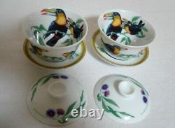 Authentic Hermes Toucans 2 Set Asian Tea Cup and Saucer