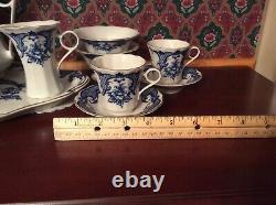 Blue & White Porcelain with gold colored trim USSR / Russian 17/18 Piece Tea Set