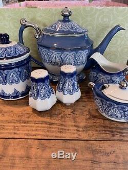 Bombay Blue/White Tea Set Teapot, Sugar/Creamer, Salt/Pepper, Biscuit Jar NWOT