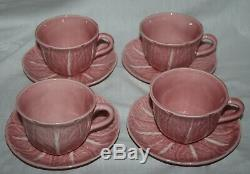 Bordallo Pinheiro Cabbage Leaf Tea Set 4 Cup & 4 Saucer Pink & White Portugal