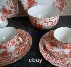 C1890s antique ROYAL CROWN DERBY china aesthetic 22 piece TEASET pattern 3918