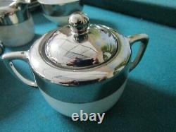 CZECH PORCELAIN TEA SET PLATINUM RIM EPIAG ROYAL CUP/SAUCER/PLATEs TEAPOT signed