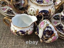 CZECH Thun 1794 China Porcelain 24Ct Tea /Coffee Set 17 Pcs Flowers /Cobalt Vng