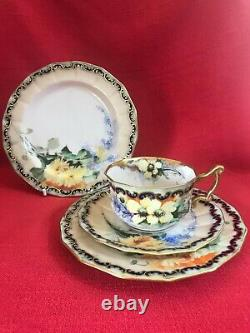 C 1900 Nautilus Porcelain (Scotland) hand painted peach blush tea set