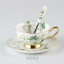 Camellia Bone China Coffee Set British Porcelain Tea Set Ceramic Pot