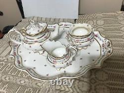 China Tea Pot, Sugar & Creamer on Tray, Cauldon England from Tiffany N. Y