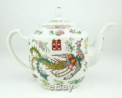 Chinese Porcelain Dragon Phoenix Tea Set Teapot Tray Cup Ceramic Enamel Colorful