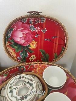 Chinese Porcelain Wedding Tea Set. With 4 Cups in a Wicker Basket Vintage