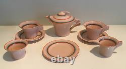 Clarice Cliff Very RARE Pink Clay Bizarre Tea-set Art Deco Hand Painted 1930s