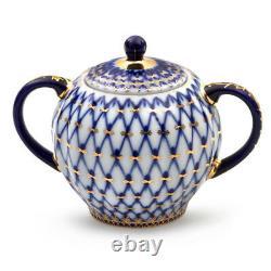 Cobalt Net 20-Pc Imperial Porcelain Tea Set, 6 Persons, Lomonosov, Classic Tulip