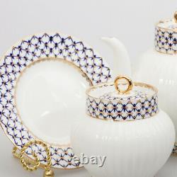 Cobalt Net 20 pc Tea Set by Imperial Porcelain Lomonosov LFZ Fine Russian China