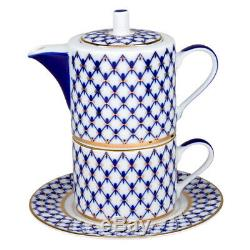 Cobalt Net Tea for One Set by Imperial Porcelain Russian Lomonosov LFZ