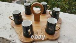 Coffee Set Cup Saucer Espresso Porcelain Tea Cups 6 Turkish And Saucers Arabic