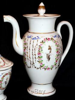 Coffee set, Vieux Old Paris porcelain, France, 11 coffee pot, cup/saucer, Empire