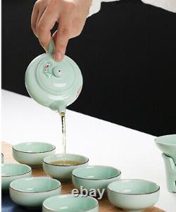 Complete tea set longquan celadon porcelain kungfu teaset handpainted gaiwan cup