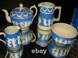 Copeland Spode England RARE ANTIQUE LT. BLUE JASPERWARE TEA SET WithPITCHER