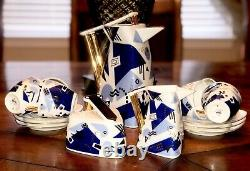 Czech Republic Thun Delta Vintage Tea Coffee Set Porcelain Blue White Gold